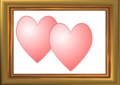 du, įrėminti, širdis, dvi ramsčios širdys