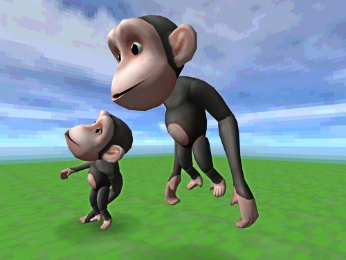 2, du, laimingas, beždžionės, kelia, gyvūnai, animacinis filmas, tonas, žalias, žolė, mėlynas, dangus, balta, debesys, laukiniai, du beždžiones