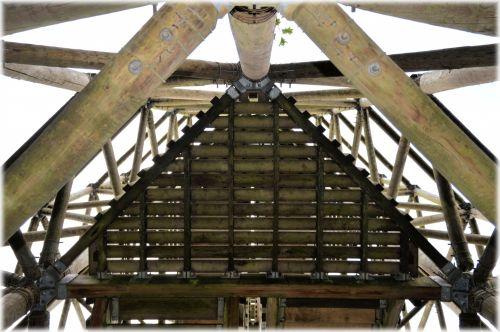 mediena, bokštas, aukštas, statyba, apeldoorn, holland, dalis, dalis medinio bokšto 3