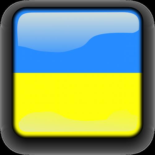ukraina,vėliava,Šalis,Tautybė,kvadratas,mygtukas,blizgus,nemokama vektorinė grafika
