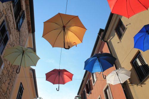 skėčiai,spalvinga,novigradas,kroatija,spalva,spalvinga skėtis,menas