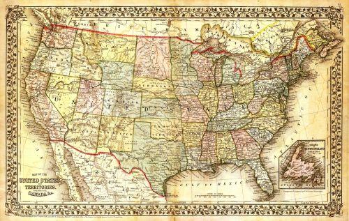 Jungtinės Valstijos žemėlapis,Šiaurės Amerikos žemėlapis,žemėlapis,senas žemėlapis,senovinis žemėlapis,usa,Šiaurės Amerika