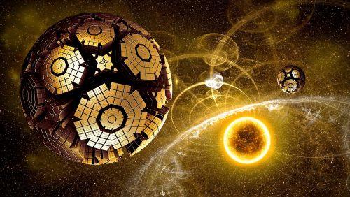 visata,šviesa,erdvė,kosmosas,dangaus kūnas,visi,fantazija,komponavimas,atmosfera,žvaigždė,saulė,metalinis,skraidantis objektas,rutuliai,švytėjimas,objektai,spinduliai,lengvas objektas,geltona,apšviestas