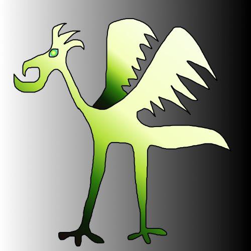piešimas, paukštis, nežinomas, karikatūra, doodle, gradientas, žalias, pilka, juokinga, nežinoma paukštis