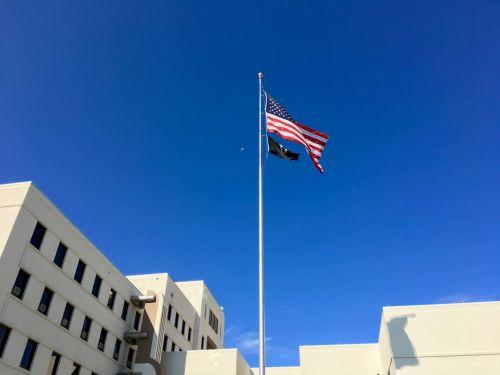 va, veterinarai, veteranai, vėliavos, usa, pow, mėnulis, dangus, mums vėliavos ir pow vėliava