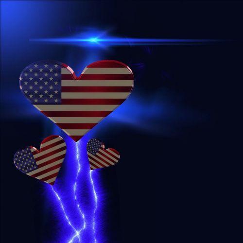 širdis, usa, vėliava, žvaigždė, patriotizmas, fonas, meilė, širdys usa