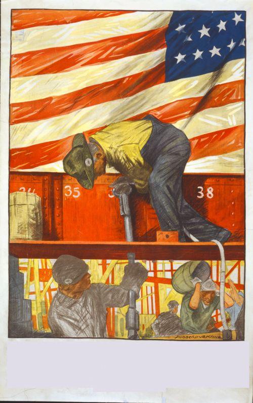 vintage, usa, plakatas, vėliava, amerikietis, Usa dirba