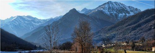 kalnai, dangus, sniegas, paprastas, slėnis, medžiai, žalias, cucuzzolo, Alpės, prealpi, pušis & nbsp, miškas, kalnas, kalvos, banguotas, šlaitai, nuosmukis, Alpių slėnis