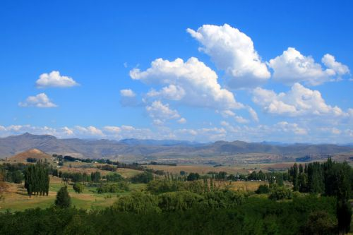medžiai, slėnis, kalnai, dangus, slėnis ir kalnų slėnis