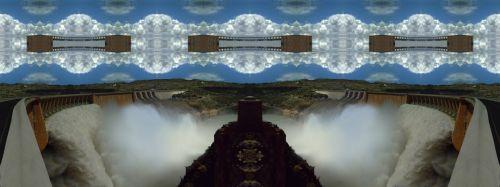 Vander Gap, užtvanka, Oranžinė, & nbsp, upė, drugelis & nbsp, poveikis, veidrodis, & nbsp, poveikis, vandens, Panorama, debesys, GIMP, vanderkloof užtvankos