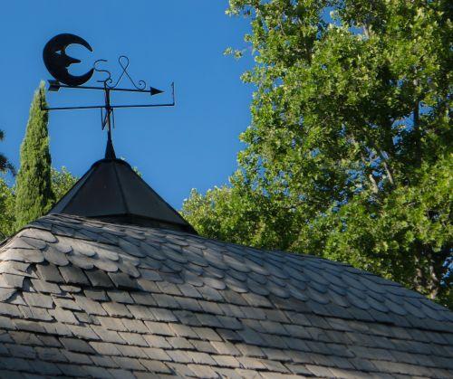 veleta,vėjo krypties indikatorius,stogas,židinys,vėjas,mėnulis,meno,gamta,dangus,medžiai,vėjo malūnas,vėjo indikatorius,klimatas