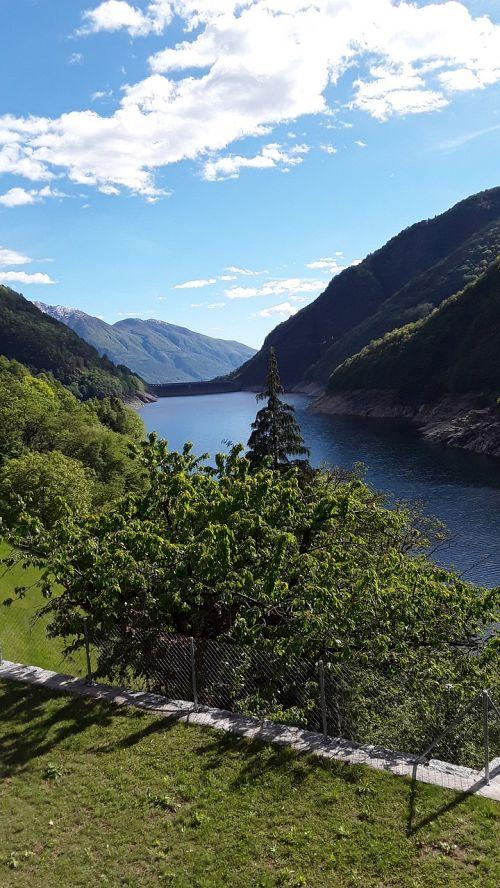 Verzasca, Užtvankos, Auksinė Akis, Šveicarija, Dangus, Kalnai, Žalias, Ežeras