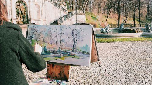 vienna,dailininkas,fontanas,drobė