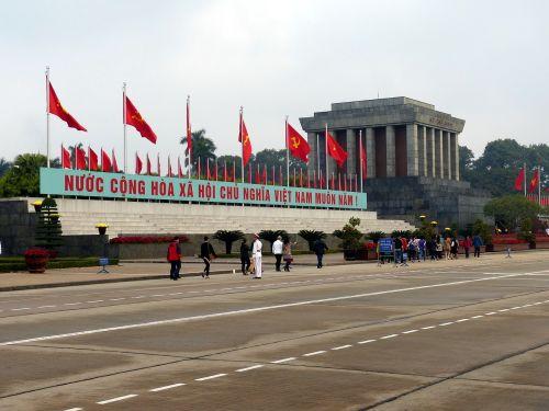 Vietnamas,Hanojus,asija,kapitalas,politika,me ho chi,mauzoliejus,kapas,pastatas,vėliavos