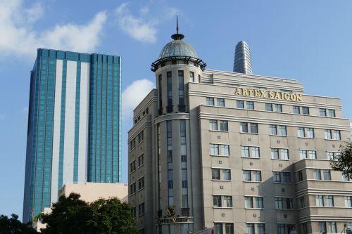 Vietnamas,saigon,istoriškai,pastatas,lankytinos vietos,Hošimino miestas,saigon ho chi minh city,miestas,architektūra,šiuolaikiška,fasadas,dangoraižis,viešbutis,didelis miestas