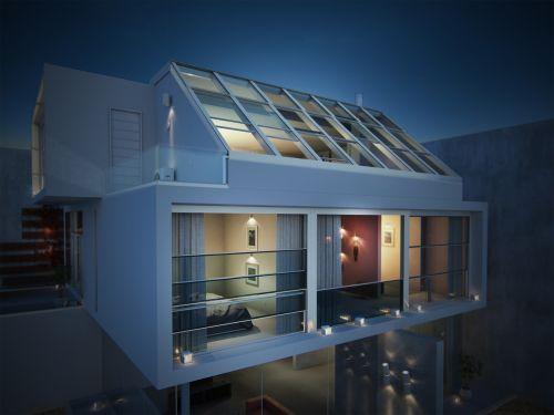 vila,stogas,3d,fotorealizmas,spektaklis,vakaras,architektūra