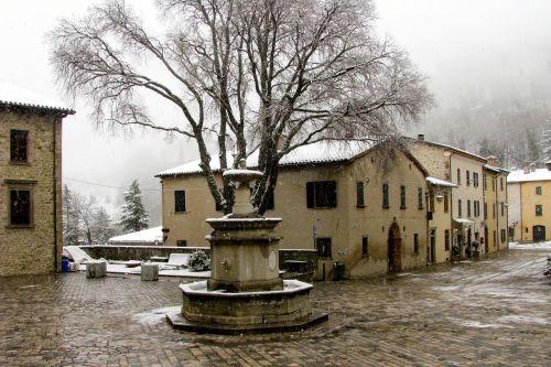 kaimas,snaigės,san leo,romagna,rimini,žiema,sniegas,migla,borgo,sniegas