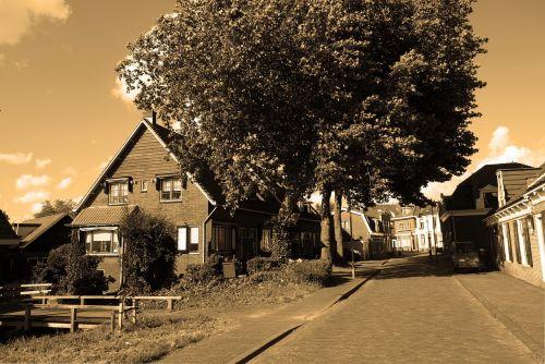 kaimas,kaimas,kaimo gatvė,ouderkerk aan de amstel,Nyderlandai,olandų kaimas,kelias,senas,sepija
