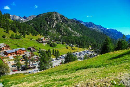 Alpių, Alpės, Europa, žalias, kraštovaizdis, kalnas, kalnai, kaimas, peizažas, dangus, mažas, pavasaris, vasara, Miestas, vaizdas, kaimas, kaimas kalnuose