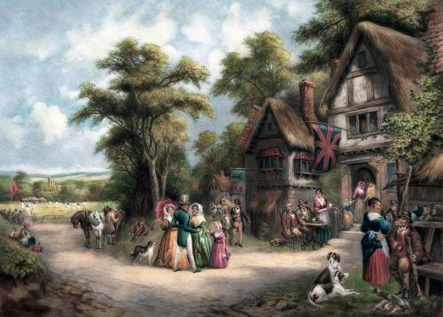 kaimas, kaimas, Anglija, kaimas, gyvenimas, Šalis, kaimas, žmonės, vyrai, moterys, vaikai, šunys, bendravimasis, užeiga, tavern, baras, kriketo & nbsp, rungtynės, Kriketas, vintage, menas, dažymas, senas, scena, gražus, Laisvas, viešasis & nbsp, domenas, kortelė, kaimo gyvenimo tapyba
