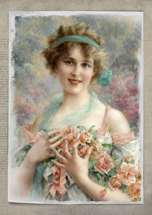 vintage,moteris,menas,koliažas,rožės,gėlių,senovinis skaitmeninis menas,skaitmeninis menas,skaitmeninis,rožinis,suknelė,portretas,suaugęs,Lady,žmonės,Moteris,stilius,Menas ir amatai,patrauklus,graži,kelia,amatų,tradicinis,istorija,meno,mielas,mada,dekupažas