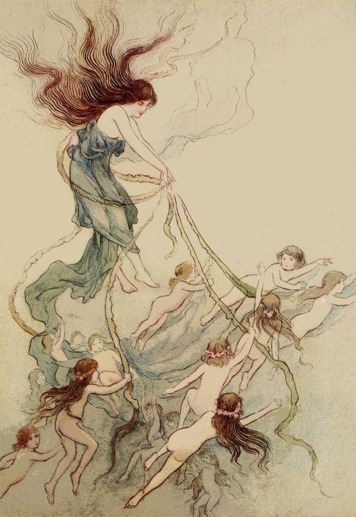 vintage,retro,enchanted,žavus,pasaka,enchanting,knygos iliustracija,Warwick goble,menas,iliustratorius,pasaka,senas,Senovinis,žmonės,moteris,Moteris,Lady,princesė,grožis,vandens kūdikiai,kūdikiai,kūdikis,jūrų,povandeninis