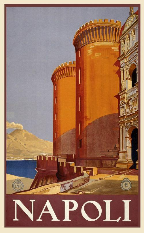 vintage,kelionė,kelionių plakatas,plakatas,atostogos,retro,derlius plakatas,kraštovaizdis,vaizdingas,vietos,nuotykis,turizmas,Napolis,italy,ispanų,architektūra,struktūros,istorinis,orientyras,Viduržemio jūros