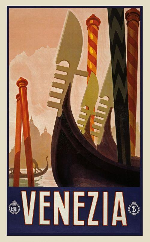 vintage,kelionė,kelionių plakatas,plakatas,atostogos,retro,derlius plakatas,kraštovaizdis,vaizdingas,vietos,nuotykis,turizmas,venezija,gondola,valtis,romantiškas,italy