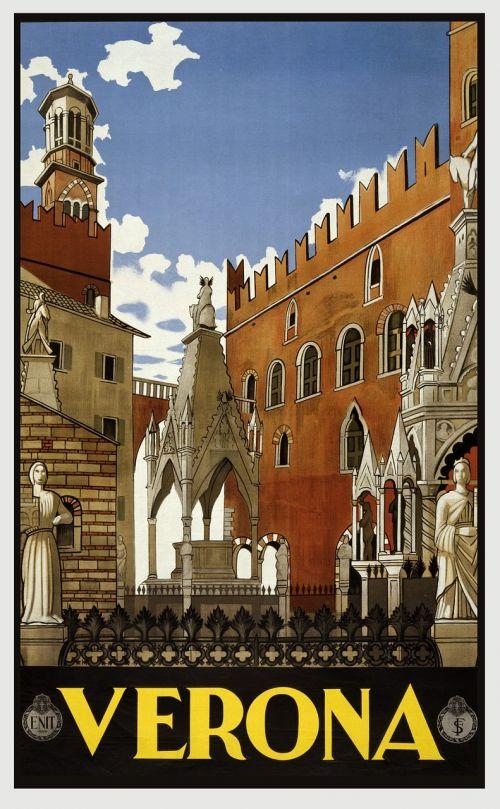 vintage,kelionė,kelionių plakatas,plakatas,atostogos,retro,derlius plakatas,kraštovaizdis,vaizdingas,vietos,nuotykis,turizmas,verona,senovės,architektūra,europietis,Kelionės tikslas,ispanų,italy