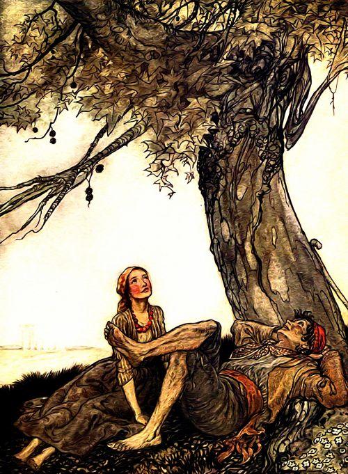 Iliustracijos, clip & nbsp, menas, iliustracija, grafika, knygos & nbsp, iliustracija, literatūra, Arturas & raquo, vintage, Senovinis, senas, aesops, pasakojimai, pasakos, menas, lauke, žmonės, gamta, pora, romantiškas, medis, augalai, scena, derliaus iliustracija