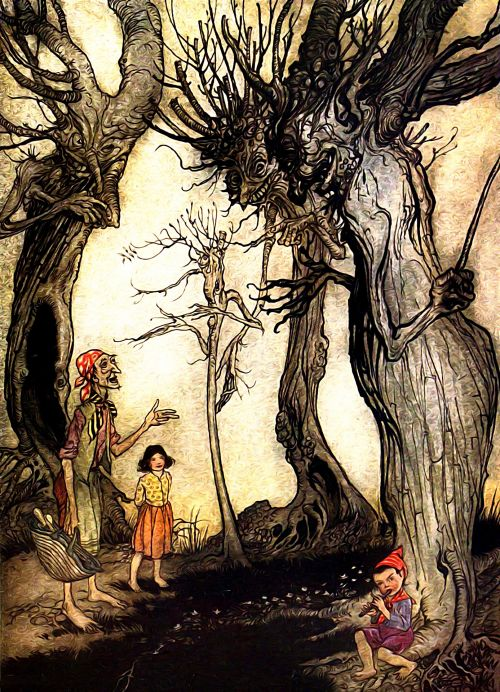 Iliustracijos, clip & nbsp, menas, iliustracija, grafika, knygos & nbsp, iliustracija, literatūra, Arturas & raquo, vintage, Senovinis, senas, aesops, pasakojimai, pasakos, menas, lauke, žmonės, gamta, medžiai, augalai, scena, peizažas, kraštovaizdis, miškas, derliaus iliustracija