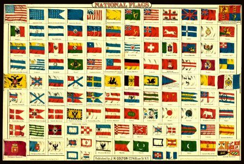 Iliustracijos, clip & nbsp, menas, iliustracija, grafika, vintage, Senovinis, vėliavos, nacionalinės & nbsp, vėliavos, derliaus nacionalinės vėliavos