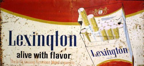 cigarečių, ženklas, prekinis ženklas, Leksingtonas, vintage, retro, redakcinis, senas, reklama, reklama, skelbimas, subraižyti, lenta, metalas, metalinis, Senovinis, rūkymas, iliustracija, paketas, Reklama, verslas, industrija, rinkodara, dūmai, senovinis ženklas cigaretėms