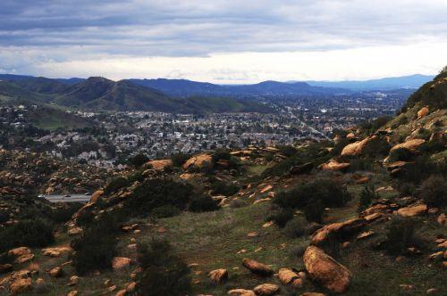 vista, vaizdas, slėnis, simi & nbsp, slėnis, Kalifornija, žygiai, žygis, vaikščioti, dangus, horizontas, kalnai, akmenys, uolingas, Simi Valley slėnis, ca
