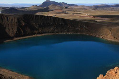 viti,krateris,krafla,kraterio ežeras,iceland,mėlynas,farbenspiel,myvatnregion