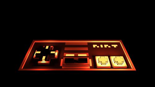 Vokselis,Nintendo,klasikinis,Nes,tamsi,žaisti,valdytojas,šviesa,kontūrai,plastmasinis