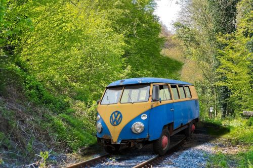 vw, geležinkelis, keista, atrodė, oldtimer, Volkswagen, klasikinis, automatinis, automobiliai, vw bulli, transporto priemonė, vw autobusas, be honoraro mokesčio