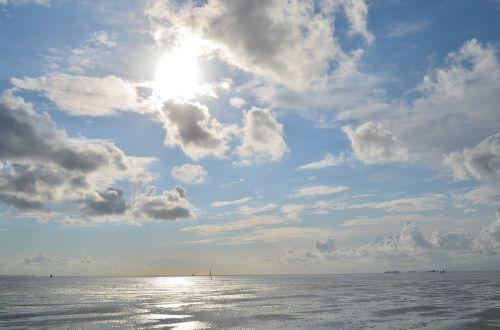 wadden jūra,Šiaurės jūra,vatai,papludimys,kranto,jūra,saulė,debesys,purvo slidinėjimas,Cuxhaven,Vokietija,mėlynas,veidrodis,atsipalaiduoti