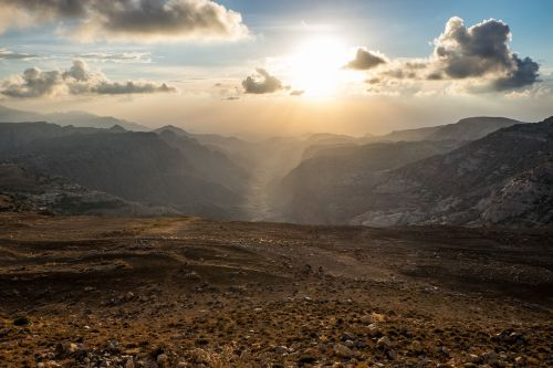 Wadi Dana, Jordan, Saulėlydis, Hdr