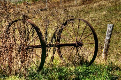 ratas, ratai, vagonas, senas, vintage, Senovinis, ūkis, ūkininkavimas, kaimas, vagono ratai