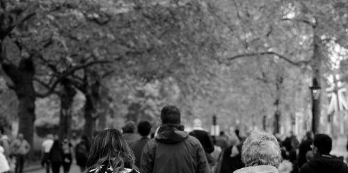 vaikščioti, žmonės, prekybos centras, Londonas, juoda & nbsp, balta, vaikščioti minios