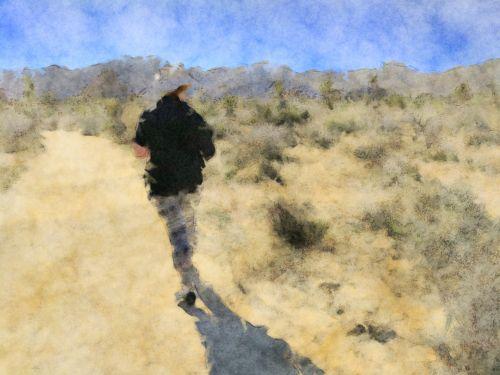 dykuma, dykumos, moteris, Lady, vaikščioti, vaikščioti, žygis, Impresionistas, meno, menas, dažytos, dažymas, Laisvas, viešasis & nbsp, domenas, vaikščioti dykumoje
