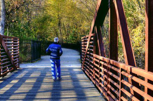 ruduo, kritimas, tiltas, vyresnysis, vyras, vaikščioti, lapija, Vermont, vaikščioti ant tilto