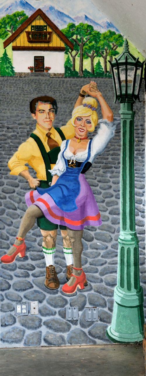 sieninis namas, alpių & nbsp, šokėjai, vokiečių, dažymas, spalvinga, Helen & nbsp, Gruzija, usa, turizmas, spalva, laimingas, dizainas, kultūra, scena, tradicinis, sienų drožyba prie Heleno, Gruzija