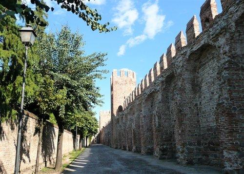 sienos, pilis, strazdai, Miestas, per, metai, architektūra, kelionė, dangus, senovės, Italija, gynybinės sienos, miesto sienos, Torre, Viduramžiai, Veneto