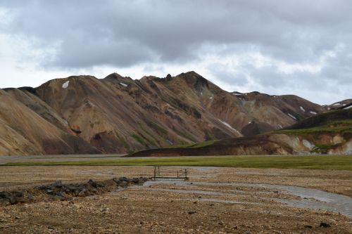 iceland, landmannalaugar, kalnas, srautas, tiltas, klajojantis dykumoje