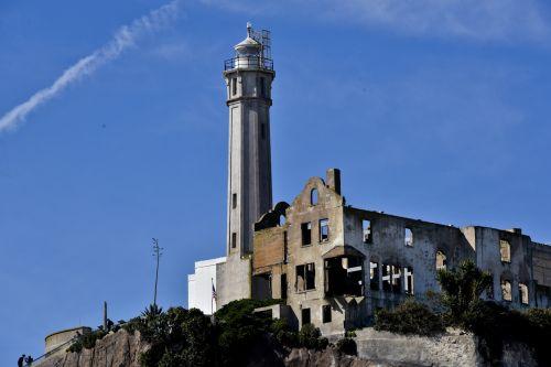 alcatraz, San & nbsp, francisco, sala, pastatas, ekskursijos, kelionė, Kalifornija, kelionė, kalėjimas, globėjas, namas, namai, nusidėvėjęs, ramshackle, truputis, nyksta, griuvėsiai, globėjo namas alcatraz
