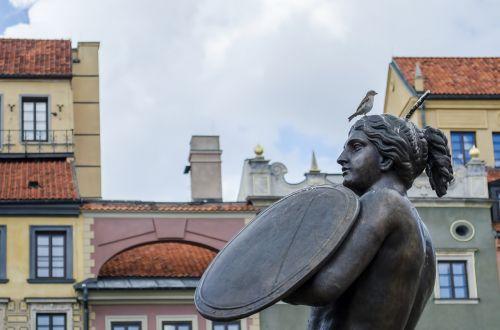 Varšuva,undinė,paminklas,skulptūra,statula,kapitalo,sirena,simbolis,skydas,statula,Warsaw undinė,Lenkija,architektūra