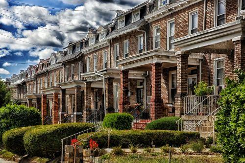 Vašingtonas,miestas,miestai,miesto,namai,namai,eiliniai namai,architektūra,plyta,augalai,krūmai,hdr