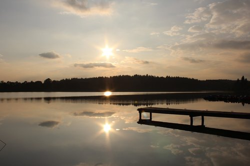 vandens, ežeras, pobūdį, kraštovaizdis, vasara, dangus, Veidrodinis, abendstimmung, saulėlydžio, vakarą dangus, ap, losheimer saugykla, Saras, Vokietija, debesys, vandens lygis, nuotaika, nuraminti, vandens paviršiaus, saulė, tylus